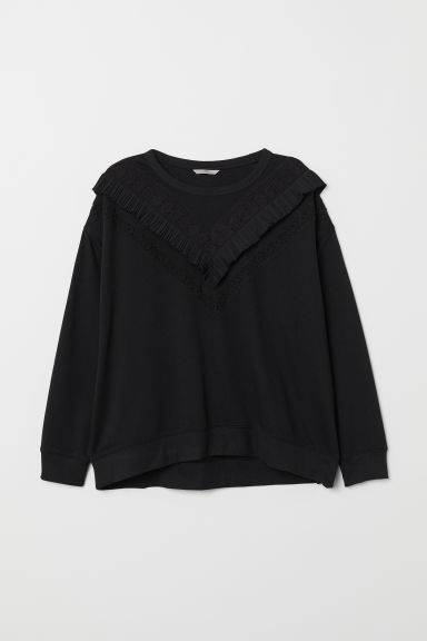 H&M+ Sweater met volant - Zwart - DAMES | H&M BE