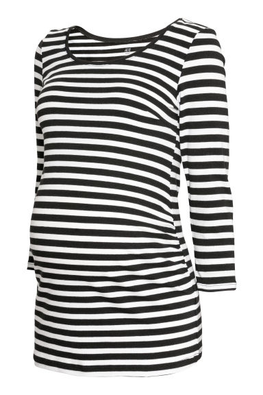 MAMA Cotton jersey top - Black/White striped - Ladies | H&M CN
