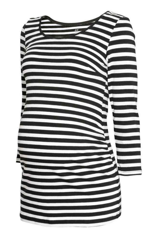 ea0f059552e MAMA Top van katoenen tricot - Zwart/wit gestreept - DAMES | H&M ...