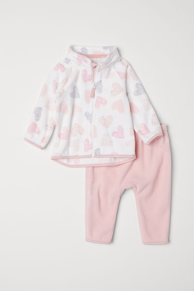 Fleece jacket and trousers - Light pink/Hearts - Kids | H&M CN