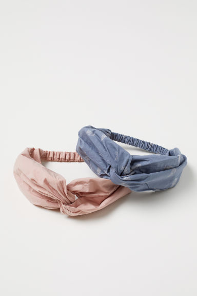 2-pack cotton hairbands - Dusky blue/Feathers -  | H&M CN