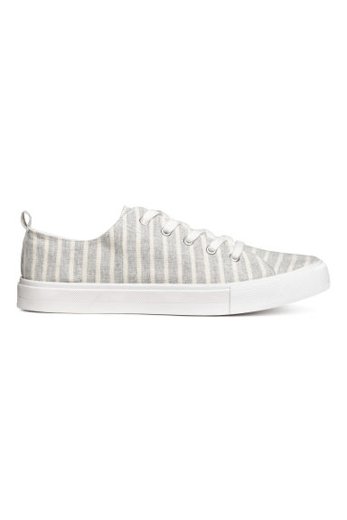 Canvas trainers - Light grey/Striped - Ladies | H&M