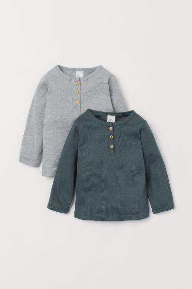 2-pack Cotton Henley ShirtsModel