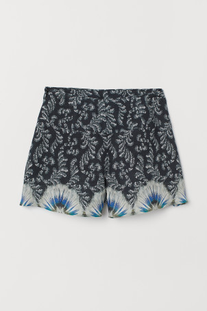 Patterned Linen Shorts