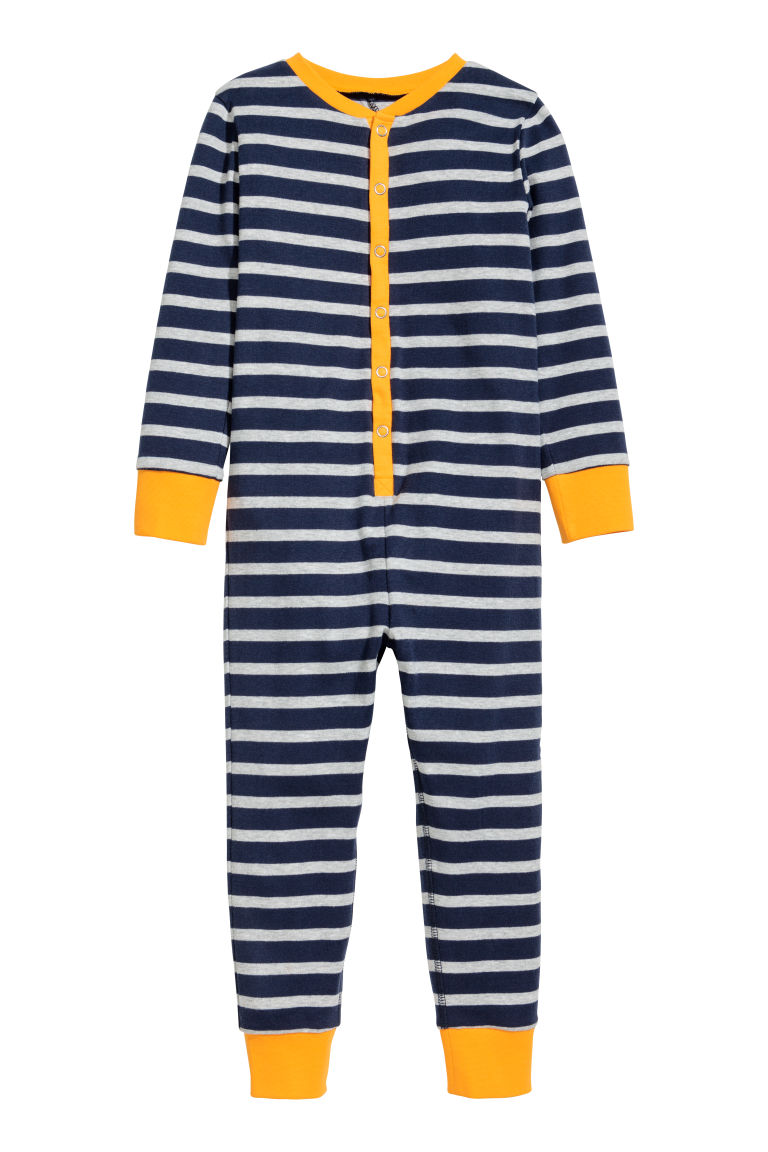 All-in-one pyjamas - Dark blue/Striped - Kids | H&M CN