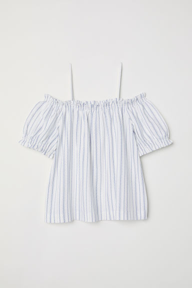 Off-the-shoulder top - White/Blue striped - Ladies | H&M