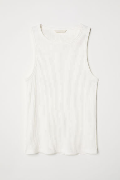 Ribbed jersey vest top - White - Ladies | H&M