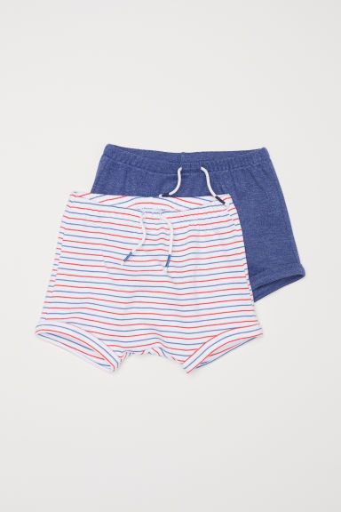 2-pack jersey shorts - Blue marl/Striped - Kids | H&M CN