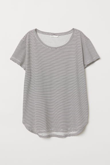 Cotton T-shirt - Natural white/Striped - Ladies | H&M