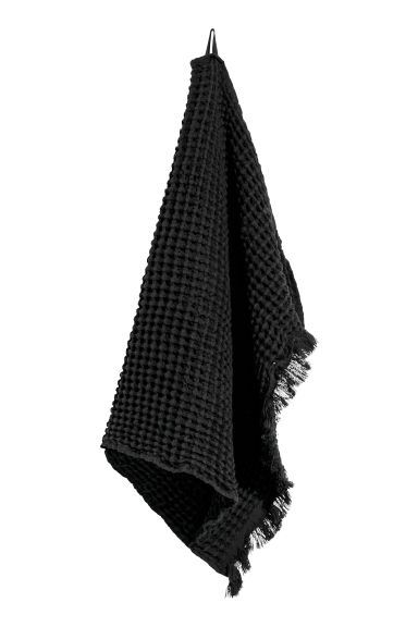 Waffled hand towel - Black - Home All | H&M CN