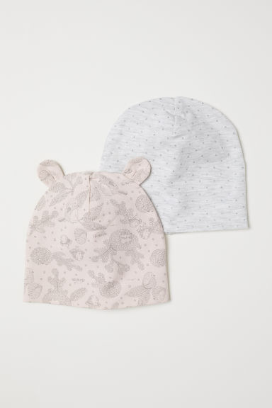 2-pack jersey hats - Powder pink/Patterned - Kids | H&M