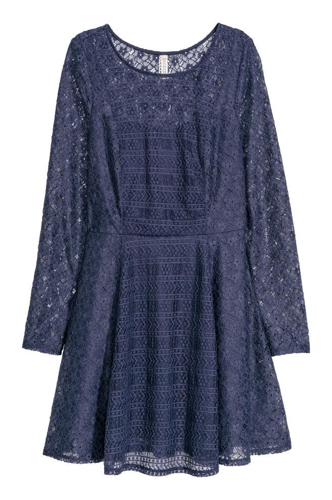 3b722e015425c2 Kanten jurk - Donkerblauw -