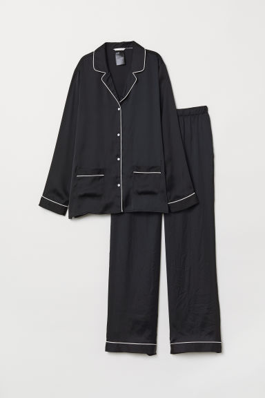 Pyjama shirt and bottoms - Black - Ladies | H&M CN