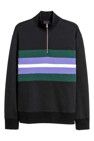 Top with a zip - Dark blue/Multicoloured - Men | H&M