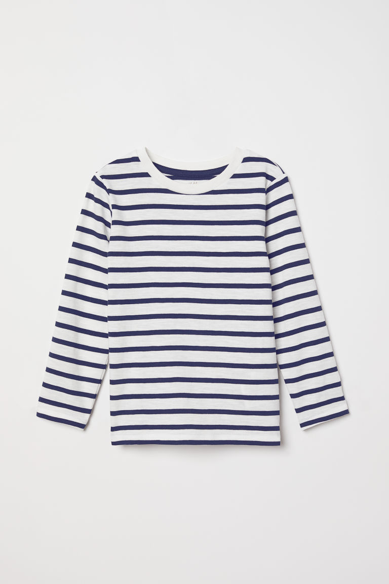 Top in jersey - Bianco/blu righe - BAMBINO | H&M IT
