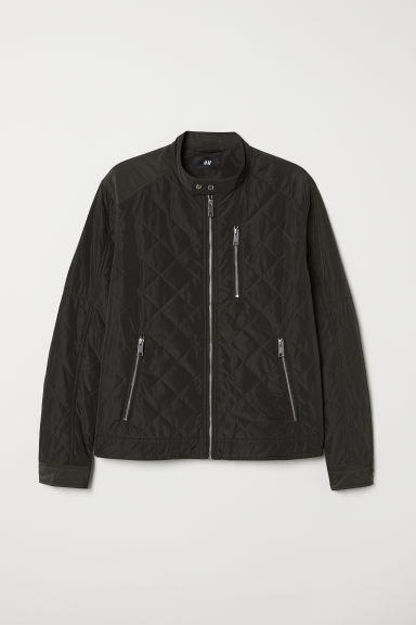Quilted jacket - Dark khaki green - Men | H&M