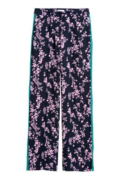 Wide trousers - Dark blue/Patterned - Ladies | H&M CN