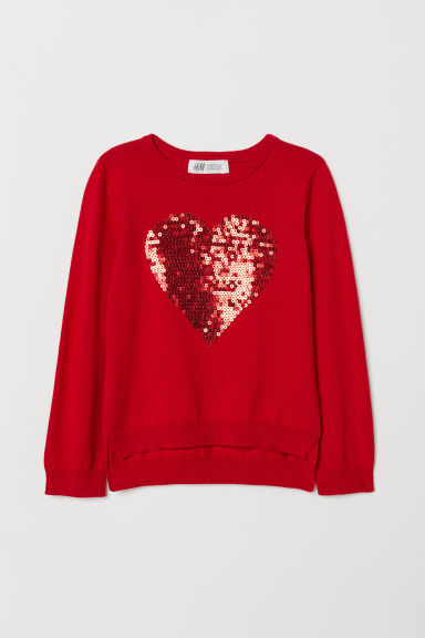 Jumper with a sequined motif - Red/Heart - Kids | H&M