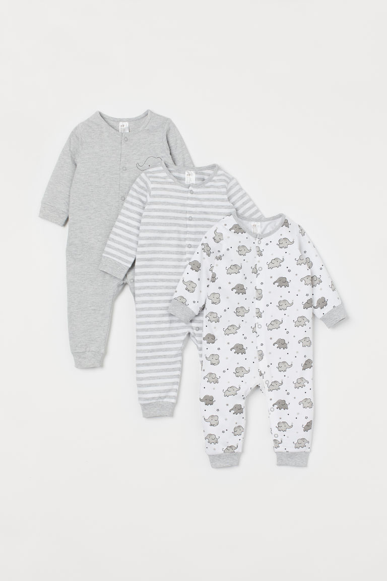 3-pack cotton pyjamas - Light grey marl/Elephants - Kids | H&M IN