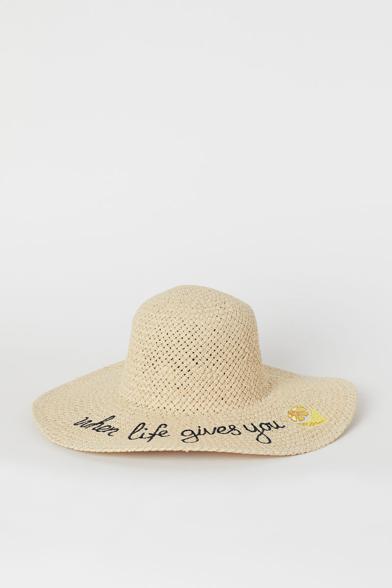Straw hat with embroidery - Light beige/Lemon - Ladies | H&M IE