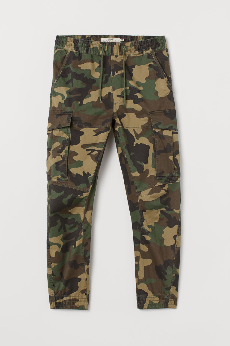 Cargo joggers - Khaki green/Patterned - Men | H&M