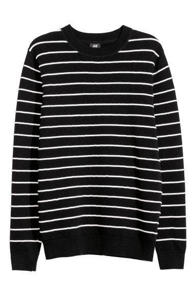 Jacquard-knit jumper - Black/White striped - Men | H&M
