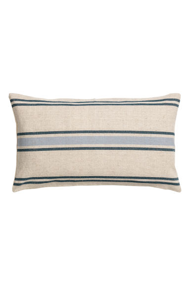 Linen-blend cushion cover - Natural white/Blue striped - Home All | H&M CN