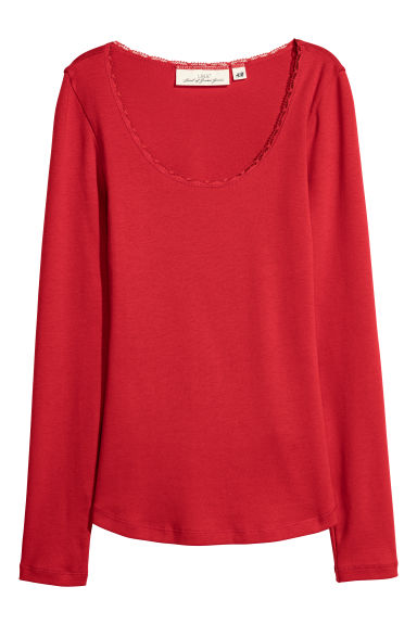 Jersey top - Red - Ladies | H&M CN