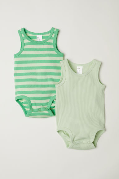2-pack sleeveless bodysuits - Light green/Striped - Kids | H&M