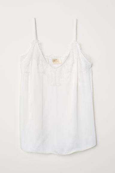 Strappy satin top with lace - Natural white - Ladies | H&M