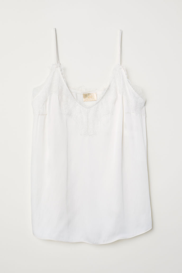 Satin Camisole Top with Lace - Natural white - Ladies | H&M US