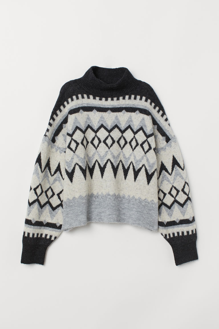 Knit Turtleneck Sweater - Gray melange/patterned -  | H&M US