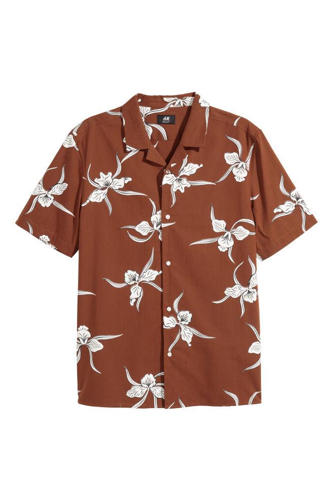 Bruin Overhemd Heren.Casual Overhemd Regular Fit Bruin Bloemen Heren H M Nl