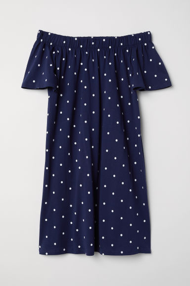 Off-the-shoulder cotton dress - Dark blue/Spotted - Ladies | H&M CN