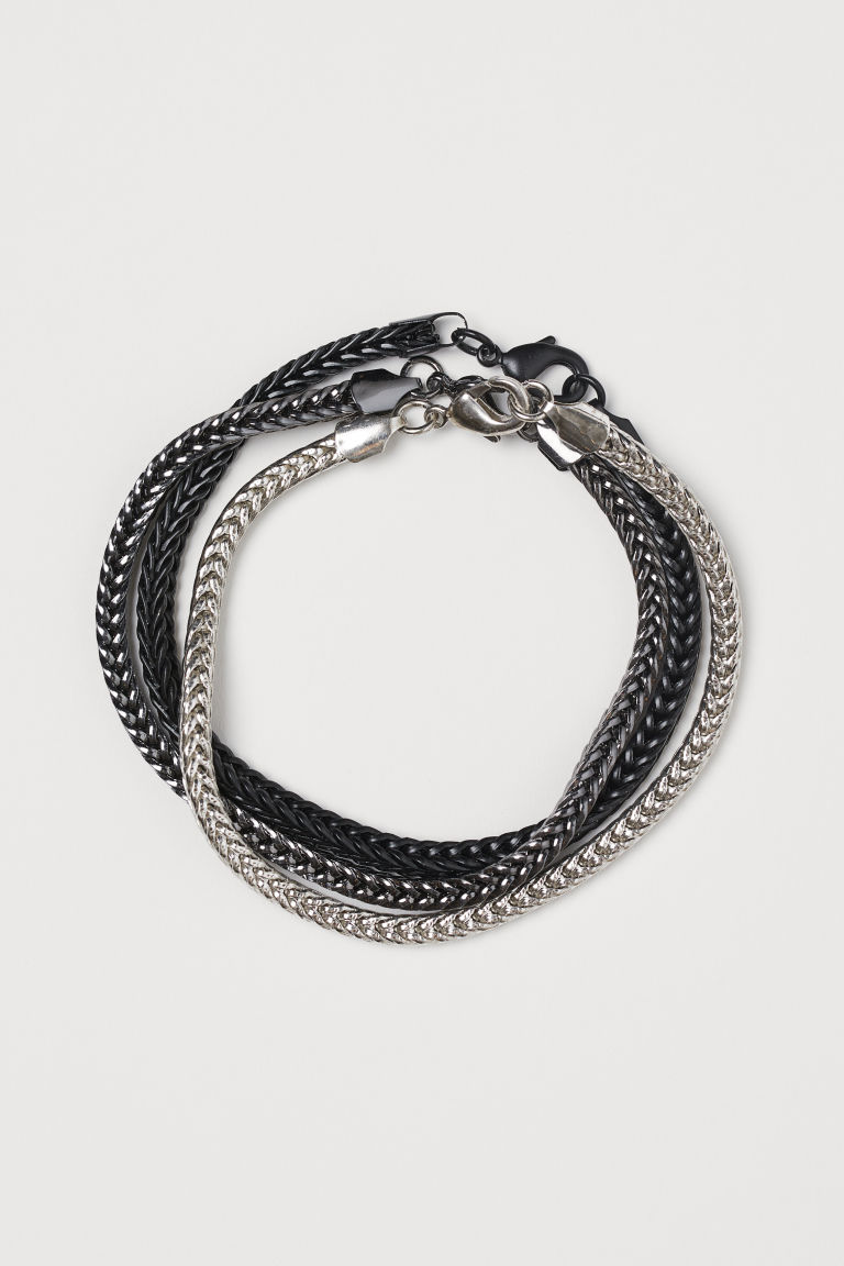 3-pack bracelets - Black/Dark grey/Silver colour - Men | H&M CN