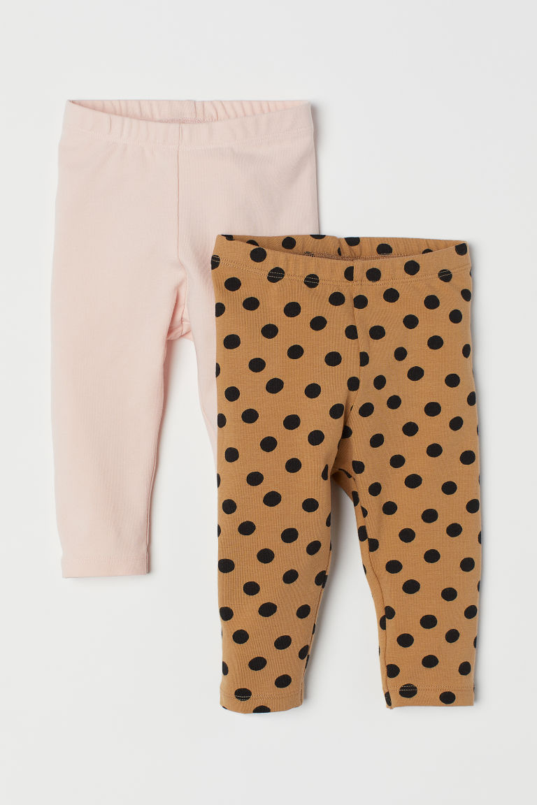 2-pack jersey leggings - Dark beige/Spotted - Kids | H&M CN