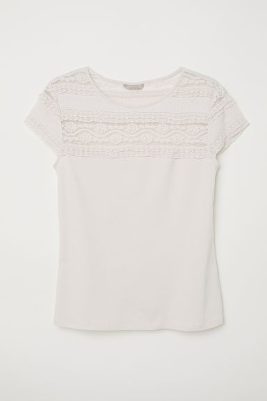 H&M+ Top with a lace yoke - Light pink -  | H&M CN
