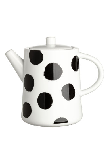 Porcelain teapot - White/Black spotted - Home All | H&M GB