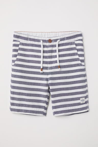 Linen-blend shorts - Dark blue/Striped - Kids | H&M