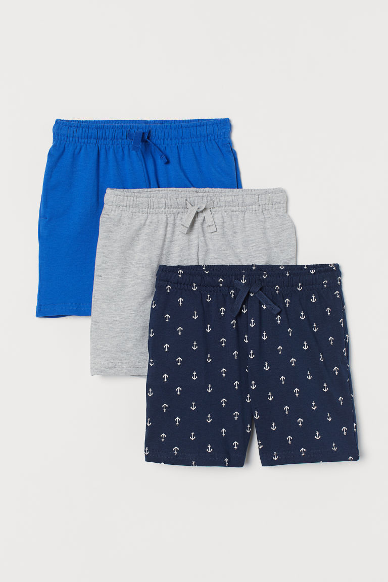 3-pack cotton jersey shorts - Dark blue/Anchors - Kids | H&M GB