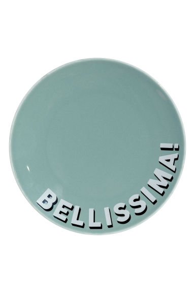 Porcelain plate with a motif - Turquoise/Bellissima - Home All | H&M GB
