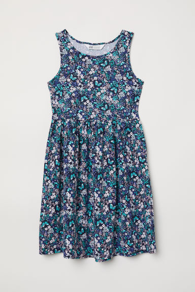 Patterned jersey dress - Dark blue/Patterned - Kids | H&M CN