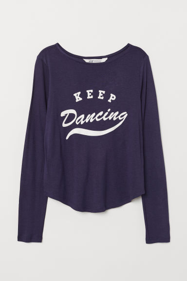Printed viscose top - Dark blue/Keep Dancing - Kids | H&M CN