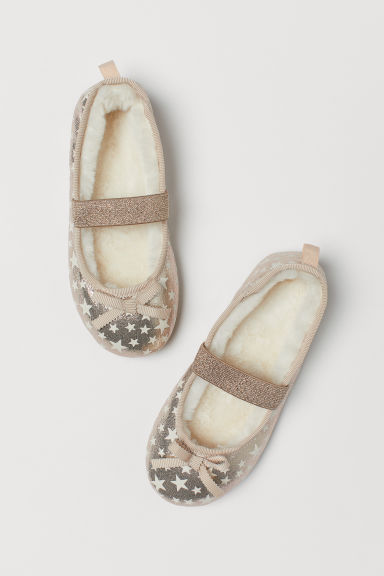 Pile-lined ballet slippers - Gold-coloured/Glow-in-the-dark - Kids | H&M