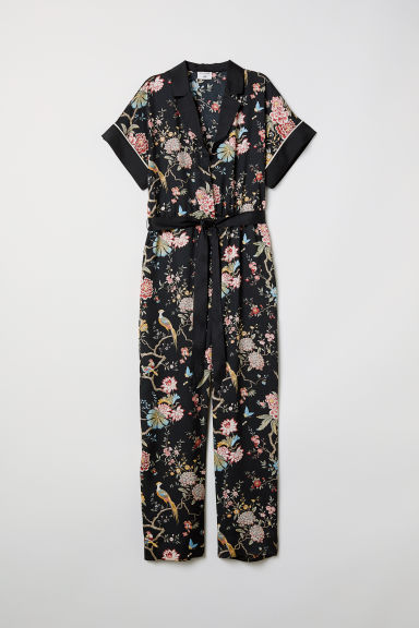 Patterned jumpsuit - Black/Floral - Ladies | H&M