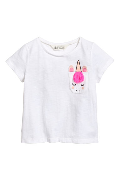 T-shirt with a chest pocket - White/Unicorn - Kids | H&M CN