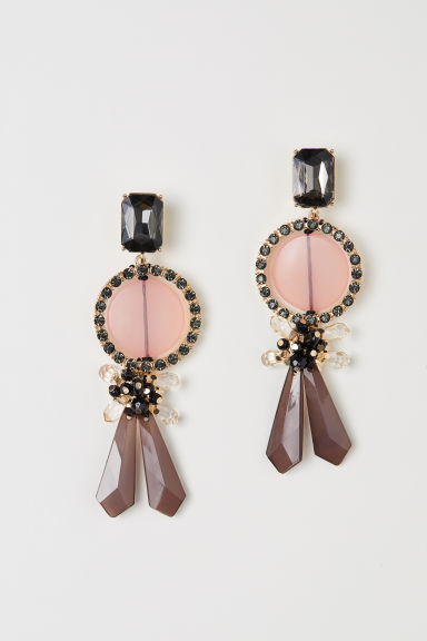 Long earrings - Gold-coloured/Light pink - Ladies | H&M CN