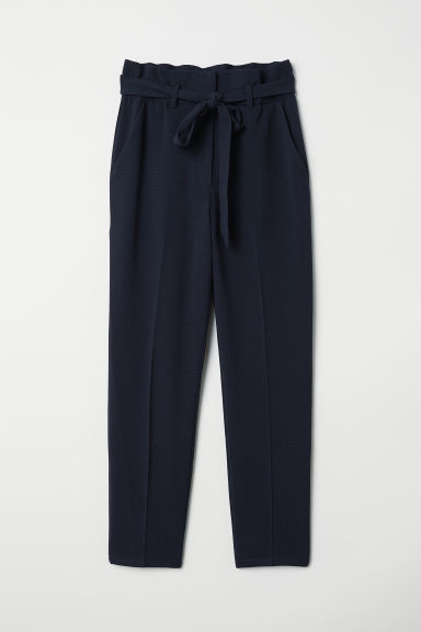 Paper bag trousers - Dark blue - Ladies | H&M