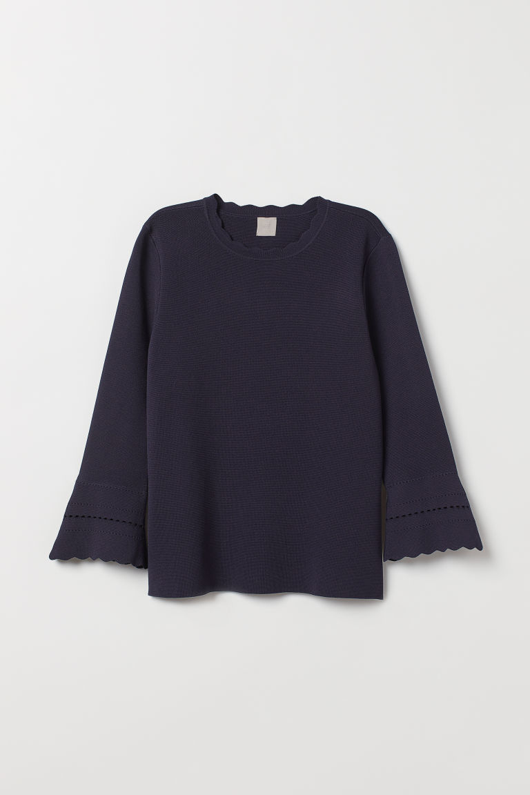 Trumpet-sleeved top - Dark blue - Ladies | H&M CN