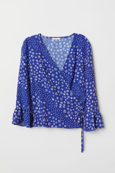 Crêpe wrapover blouse - Cornflower blue/Floral - Ladies | H&M CN